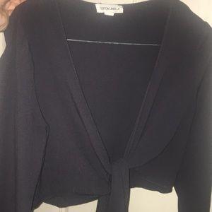 Dark Grey Tie Front Crop Size Small